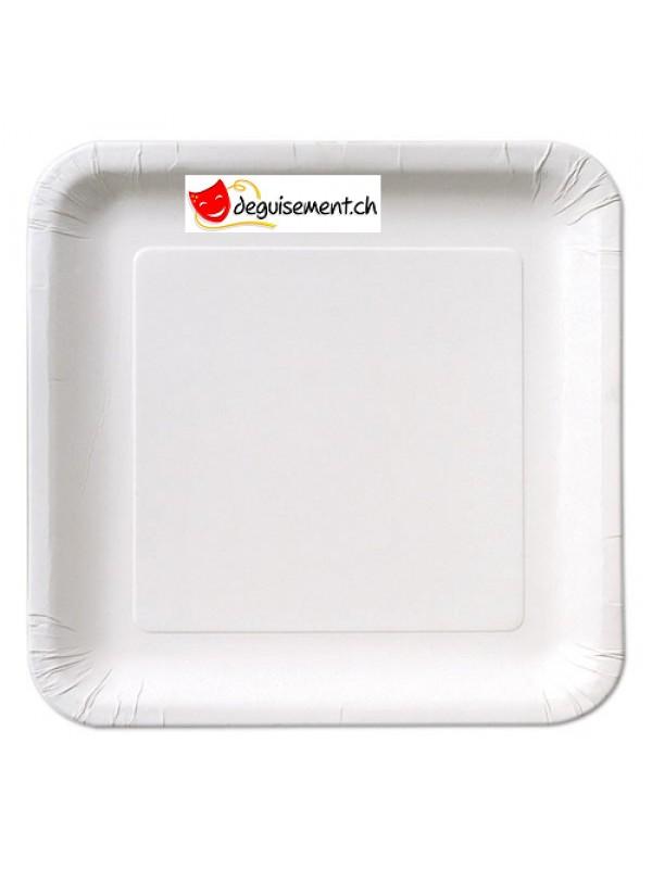 14 assiettes blanc carré 22.2 cm