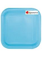 14 assiettes bleu carré 22.2 cm