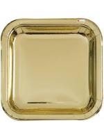 14 assiettes doré carré 22.2 cm