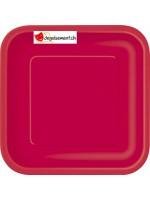 14 assiettes fuchsia carré 22.2 cm