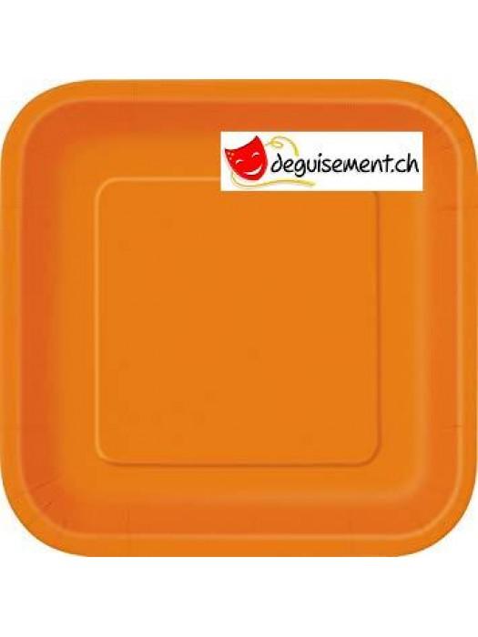 14 assiettes orange carré 22.2 cm