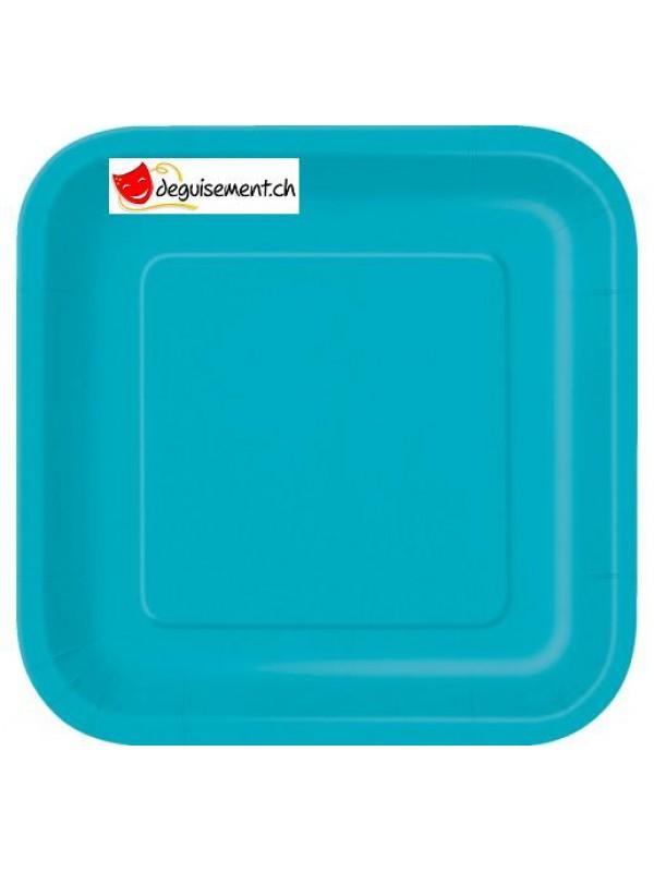 14 assiettes turquoise carré 22.2 cm