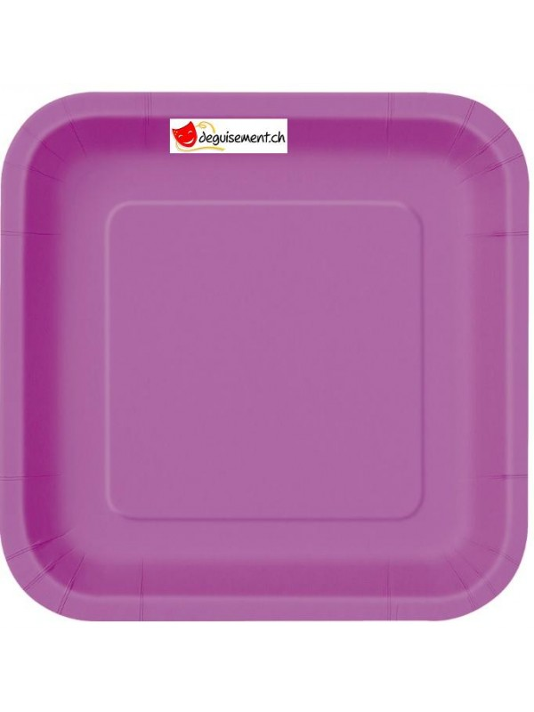 14 assiettes violet carré 22.2 cm