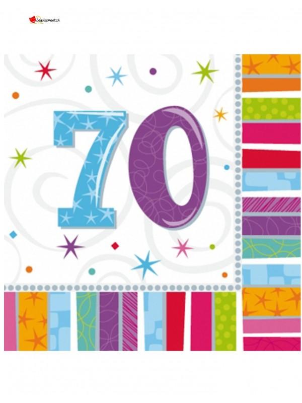 16 serviettes 70 ans