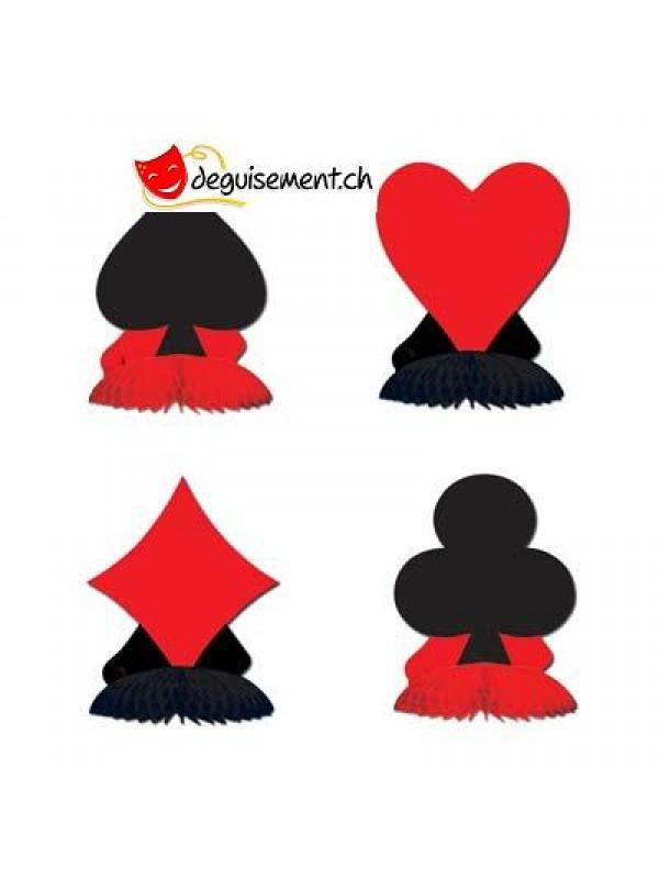 4 Petits centre de table jeu de carte