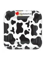 8 grandes assiettes motif vache