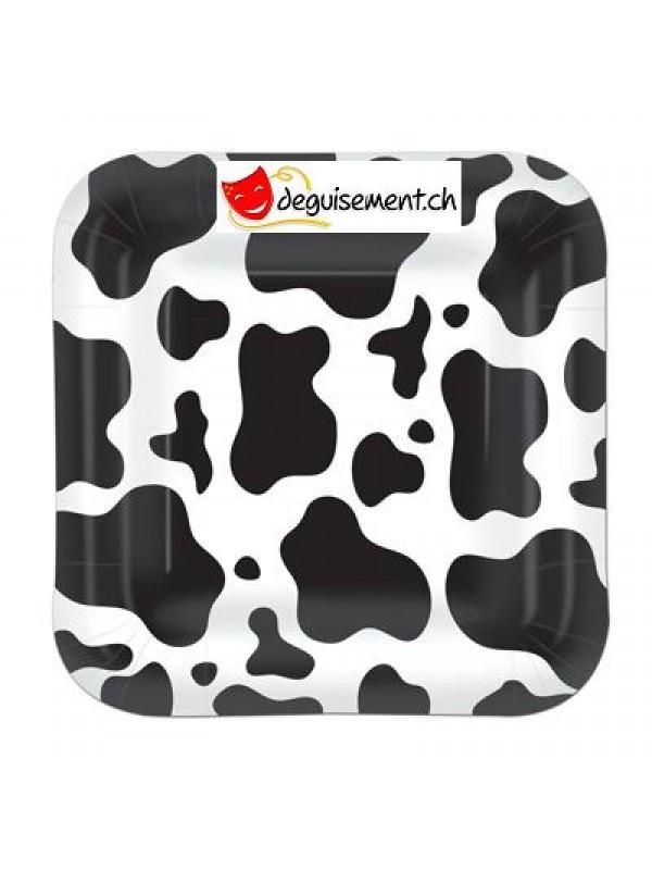 8 petites assiettes motif vache