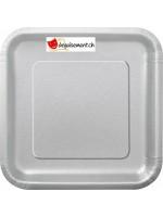 Assiettes argenté carré - 14 pièces