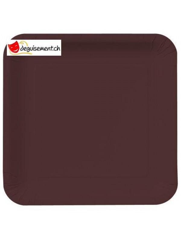 Assiettes à dessert carré brun - 16 pièces
