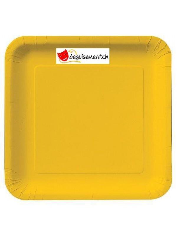 Assiettes à dessert carré jaunes - 16 pièces