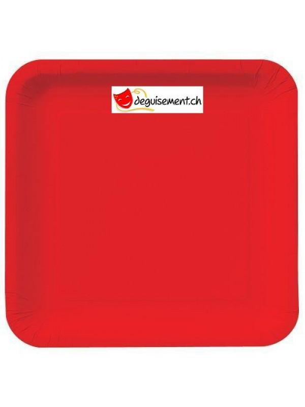 Assiettes à dessert carré rouge - 16 pièces