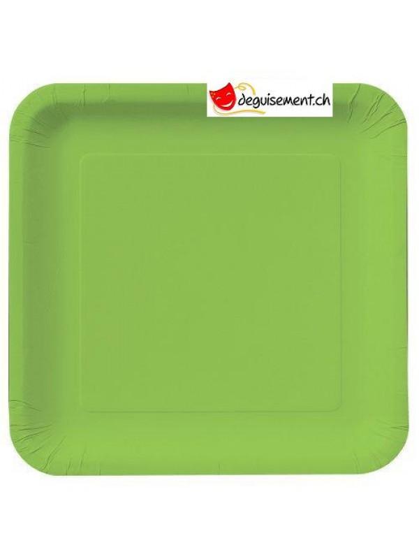 Assiettes à dessert carré vert - 16 pièces