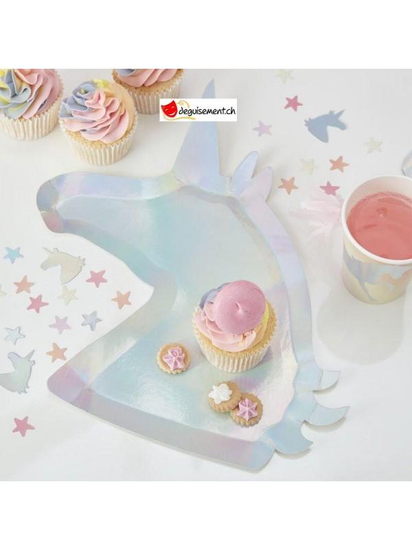 Iridescent unicorn shaped plates
