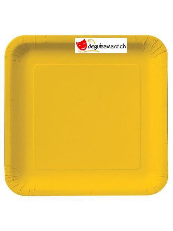 Assiettes jaunes carré -14 pièces