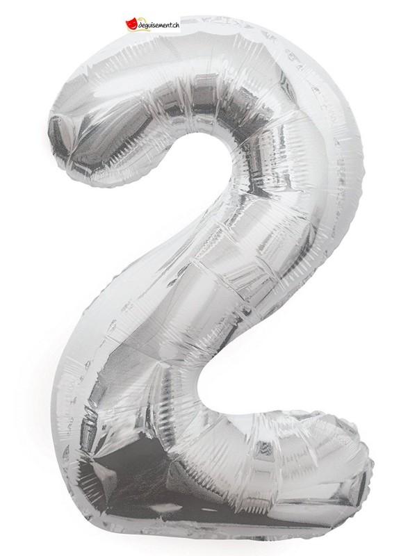 Aluminium foil balloon number 2 silver - 86cm