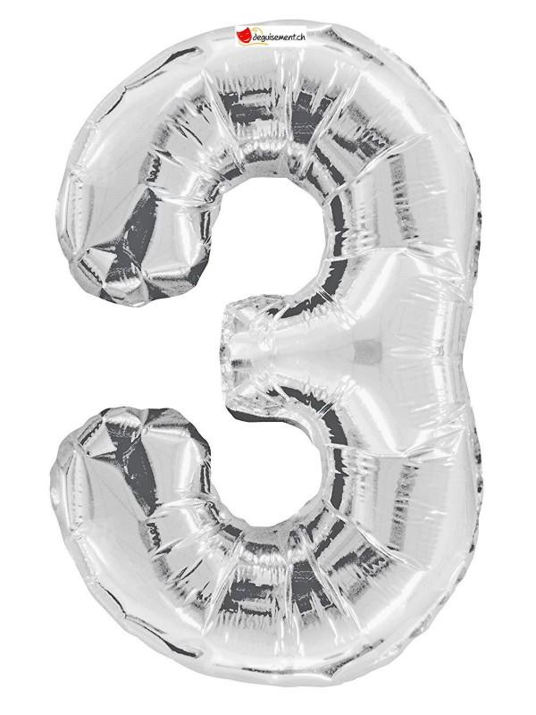Aluminium foil balloon number 3 silver - 86cm