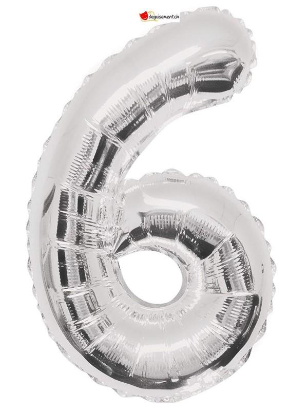 Aluminium foil balloon number 6 silver - 86cm