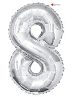 Aluminium foil balloon number 8 silver - 86cm