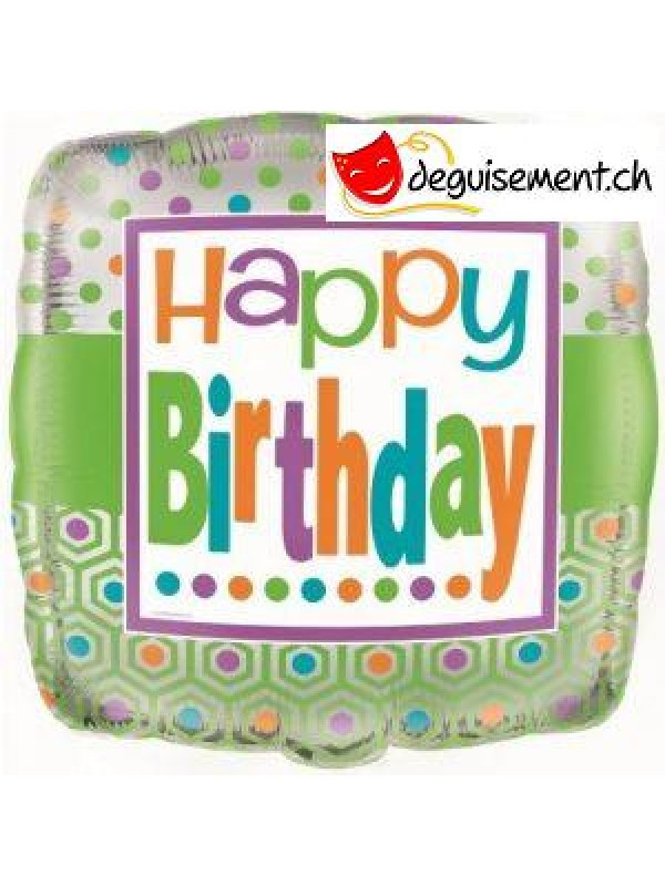 Ballon alu carré happy birthday - 45.7 cm