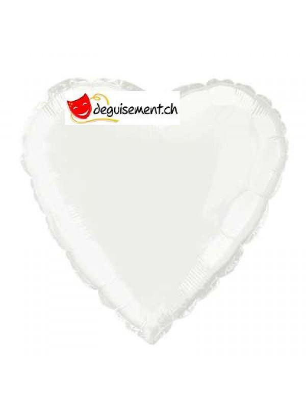 Ballon alu coeur blanc - 45.7 cm