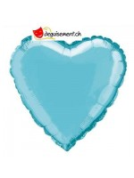 Ballon alu coeur bleu clair - 45.7 cm