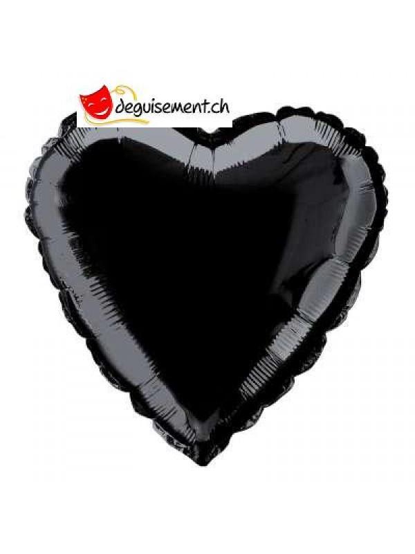 Ballon alu coeur noir - 45.7 cm