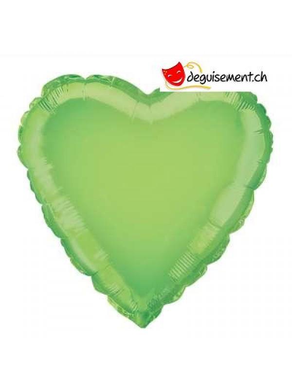 Ballon alu coeur vert clair - 45.7 cm
