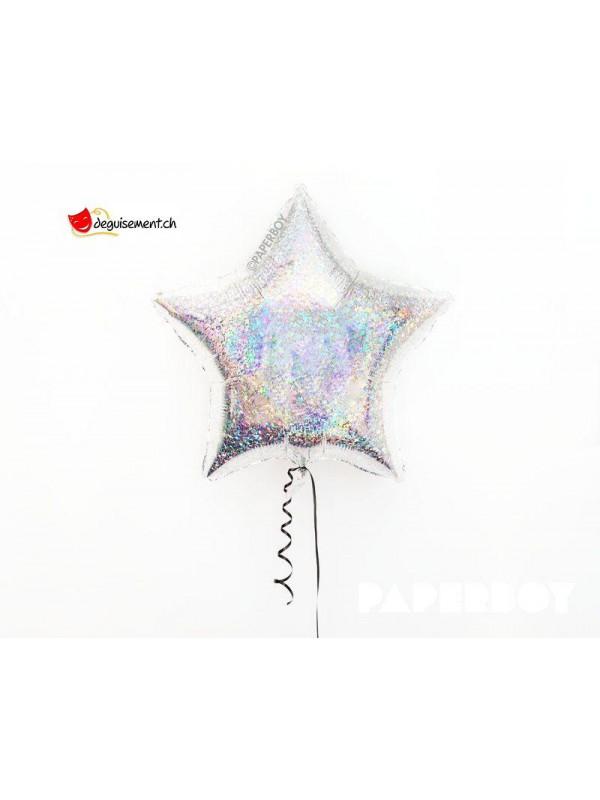 Ballon alu  étoile argent paillette 80 cm