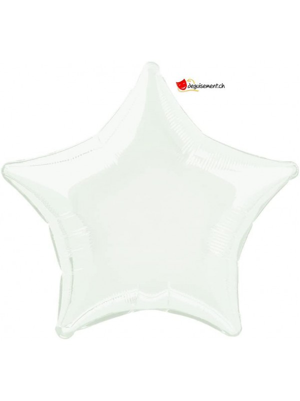 Ballon alu étoile blanc - 50cm