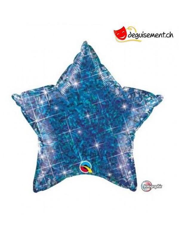 Ballon alu  étoile blue paillette 51 cm