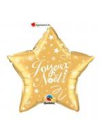 Ballon alu etoile Joyeux Noel or 50cm