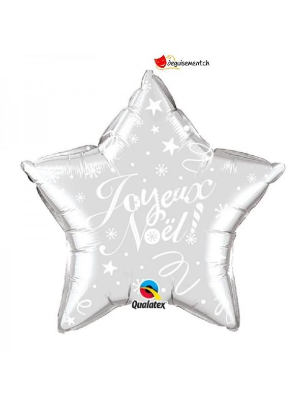 Ballon alu etoile Joyeux Noel argente 50cm
