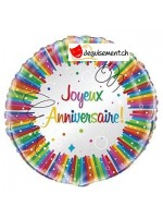 Ballon alu Joyeux Anniversaire - 45.7 cm