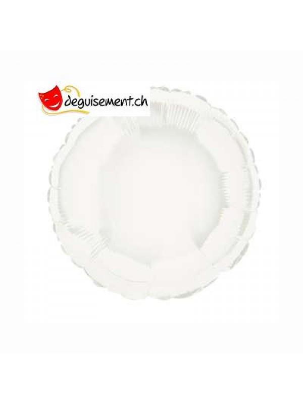 Ballon alu rond blanc - 45.7 cm