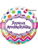 Ballon alu rond joyeux anniversaire 46cm