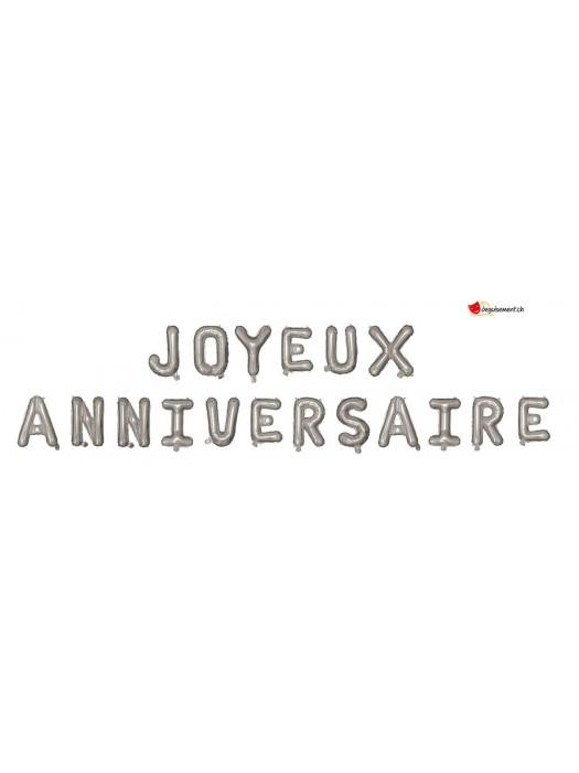 Foil balloons JOYEUX ANNIVERSAIRE - silver