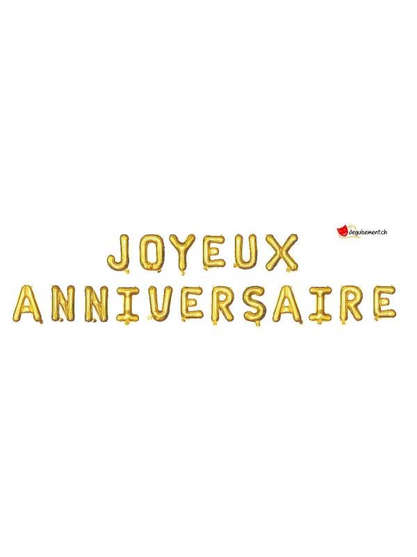 Foil balloons JOYEUX ANNIVERSAIRE - gold
