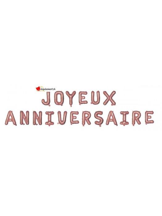 Foil balloons JOYEUX ANNIVERSAIRE - pink