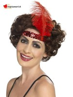 Bandeau charleston flapper rouge