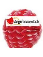 Boule festonnée rouge et blanc 25 cm