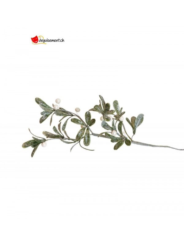 White mistletoe branch with frosted leaves and pearls
