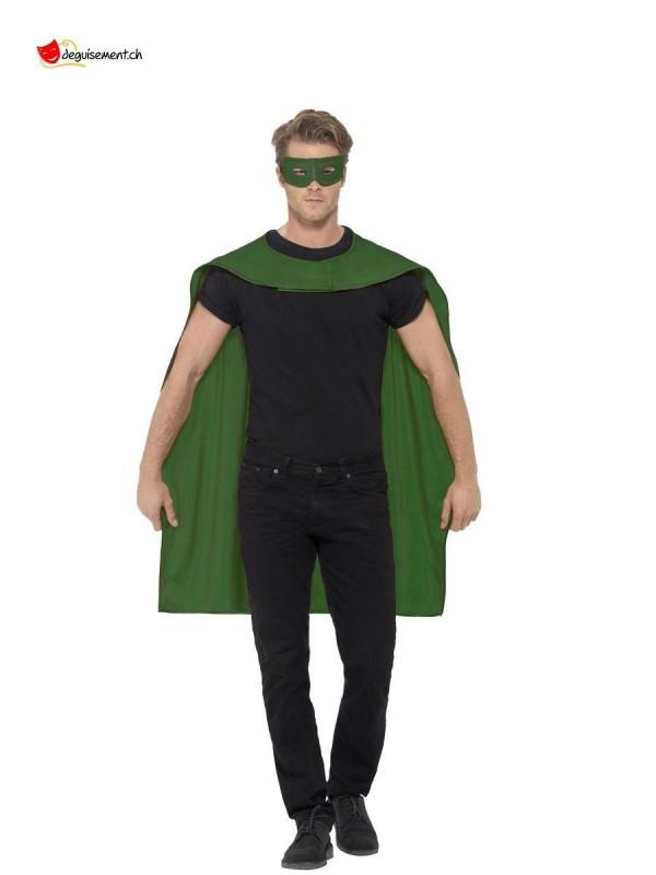 Cape et masque vert - Taille unique