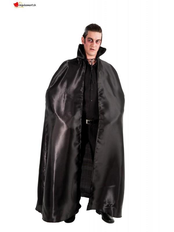 Cape satin noir col noir 163cm