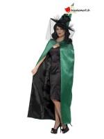 Cape de sorcière réversible - vert et noir - taille unique