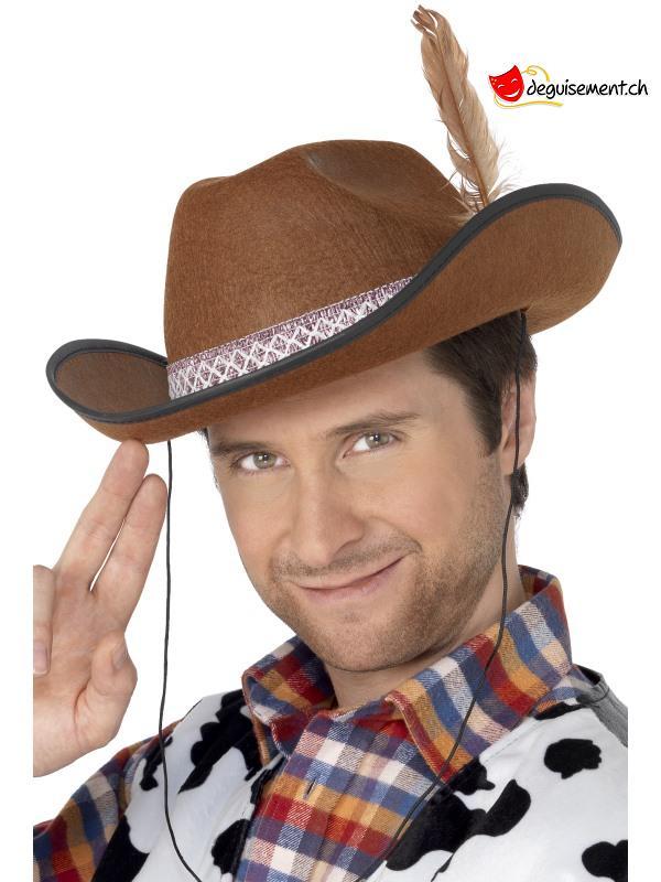 Chapeau cowboy brun avec une plume