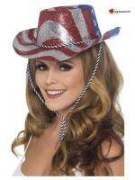 Cowboy Glitter Hat, Stars & Stripes, Red & Silver