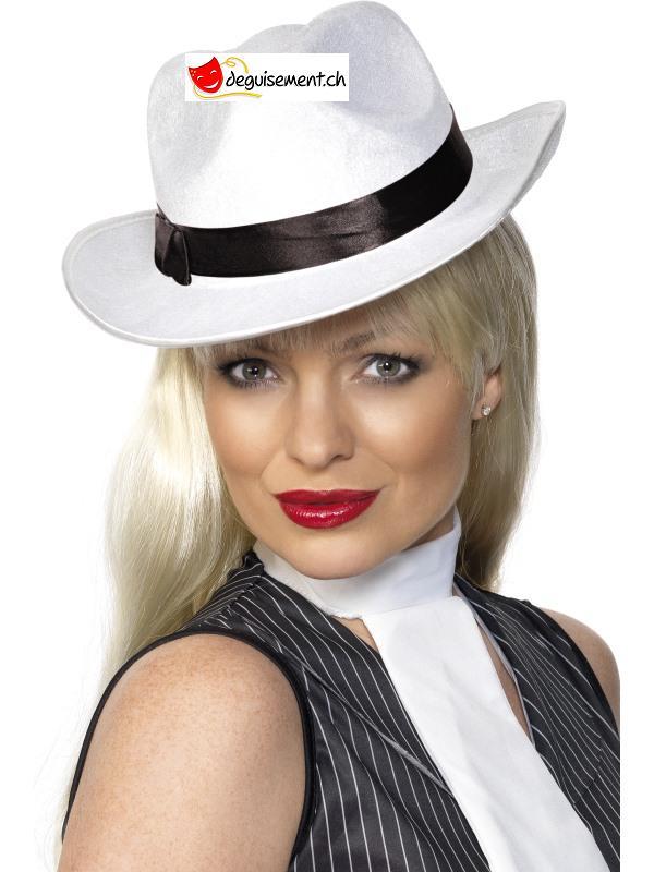 Chapeau gangster blanc - femme
