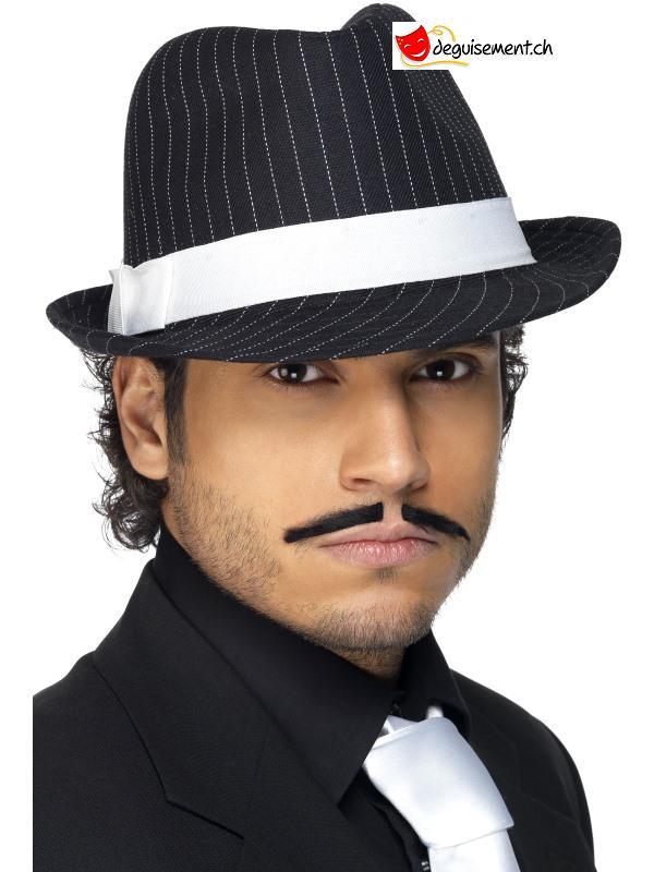 Chapeau Gangster noir avec lignes blanches