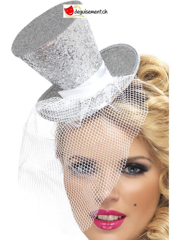 Chapeau Mini + voile argent - taille unique