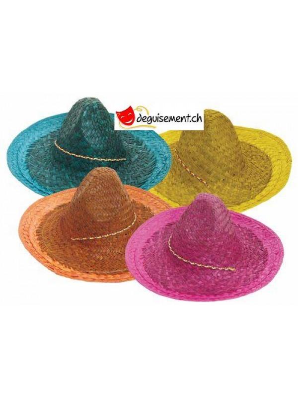 Chapeau sombrero Mexicain en paille pour adulte - 45cm - Couleur assortie